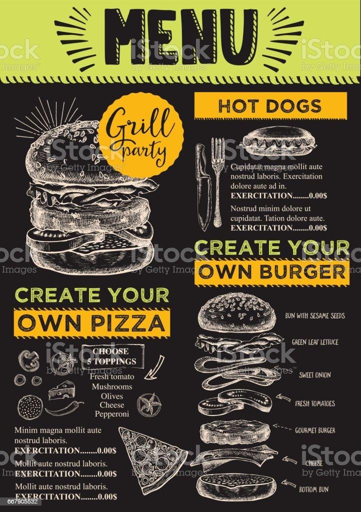 Burger Menu Restaurant Food Template Royalty Free Stock