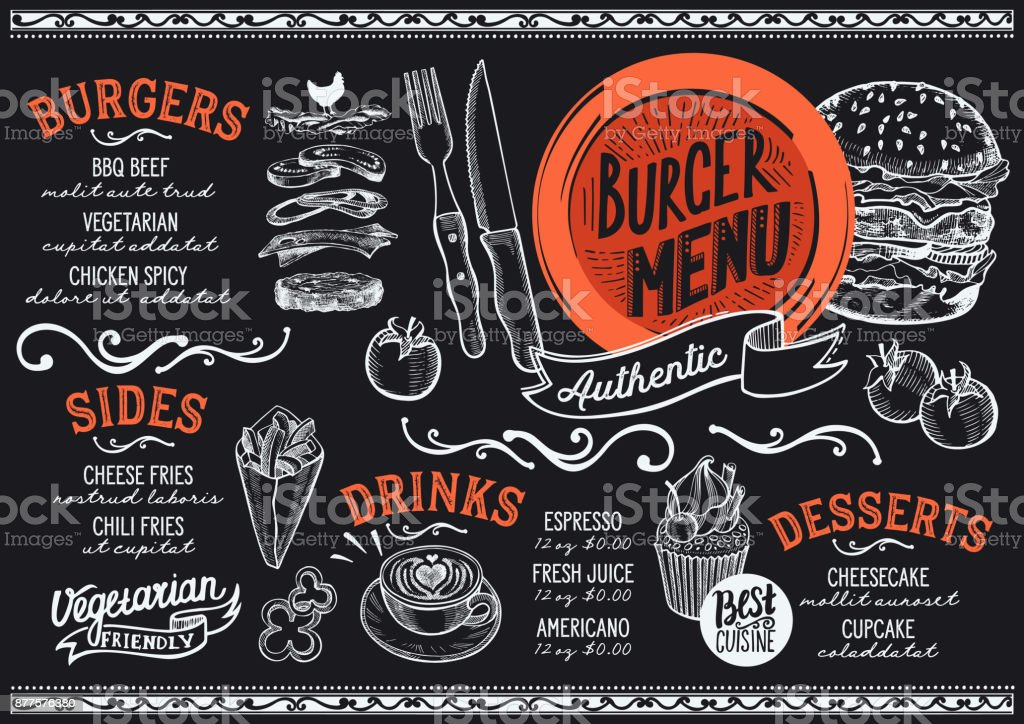Burger menu restaurant, food template. vector art illustration
