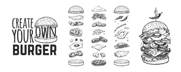 illustrazioni stock, clip art, cartoni animati e icone di tendenza di menu hamburger. modello vintage con schizzi disegnati a mano di un hamburger e dei suoi ingredienti. icone di stile di incisione - panino, cetrioli, uova, insalata, pomodori e formaggio. - hamburger