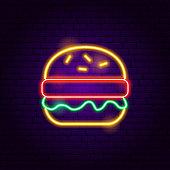 Burger Neon Sign. Vector Illustration of Cafe Food Promotion.