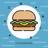 Burger Open Outline USA Icon