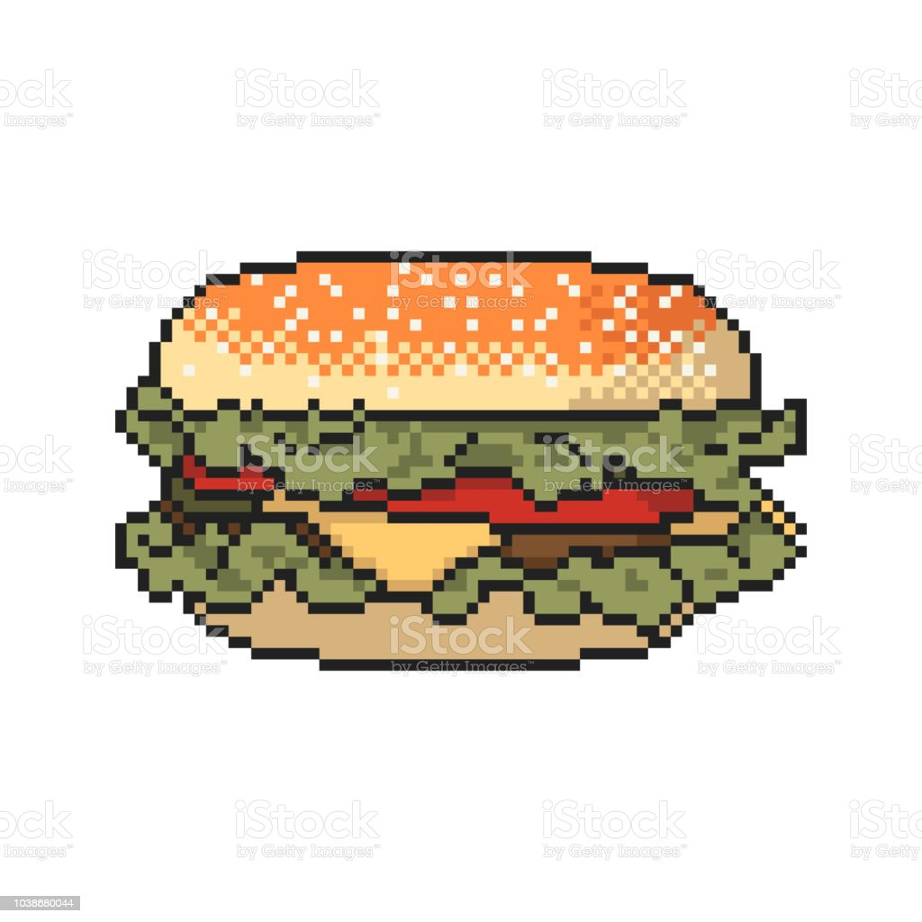 Burger Pixel Art On White Background Vector Illustration Stock