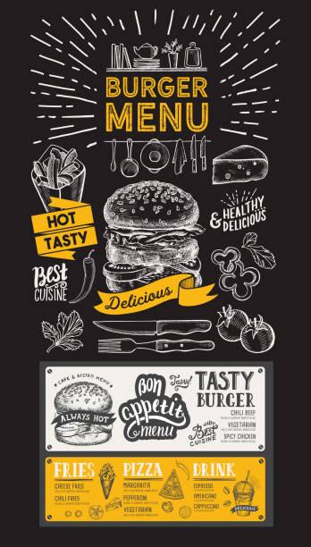 ilustraciones, imágenes clip art, dibujos animados e iconos de stock de menú de restaurante burger. folleto alimentos para bar y cafetería. plantilla de diseño con vintage ilustraciones dibujadas a mano sobre fondo negro. - hamburguesa
