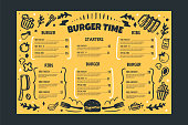 Burger restaurant vafe menu template on yellow background. Grill BBQ menu, Sketch cover template, american kitchen.