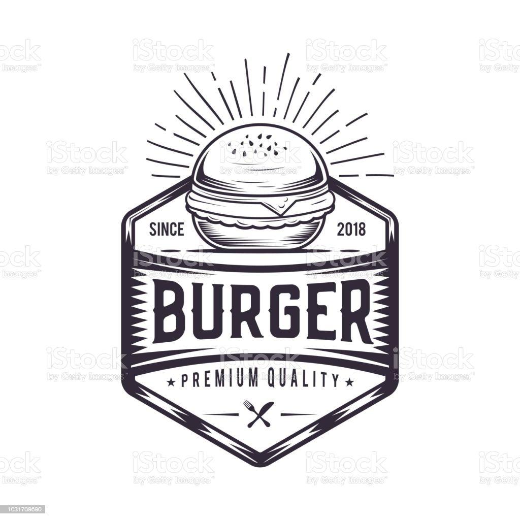 a67e220d154 Burger retro logo design. Vintage badge illustration. Fast food emblem  design - Illustration .
