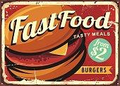 Burger retro sign decoration for fast food restaurant.