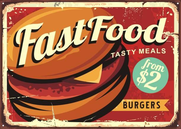 burger retro sign - burgers stock illustrations, clip art, cartoons, & icons