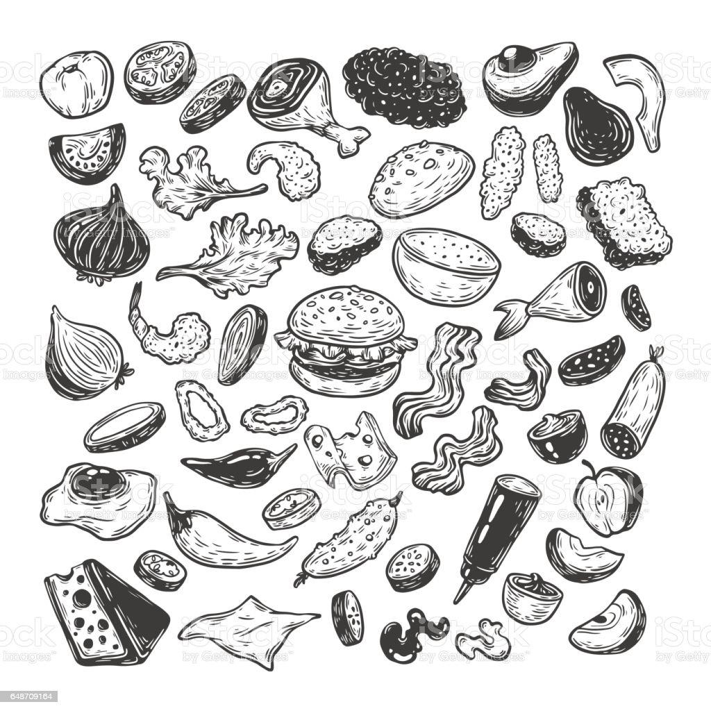 Burger, Set. vector art illustration