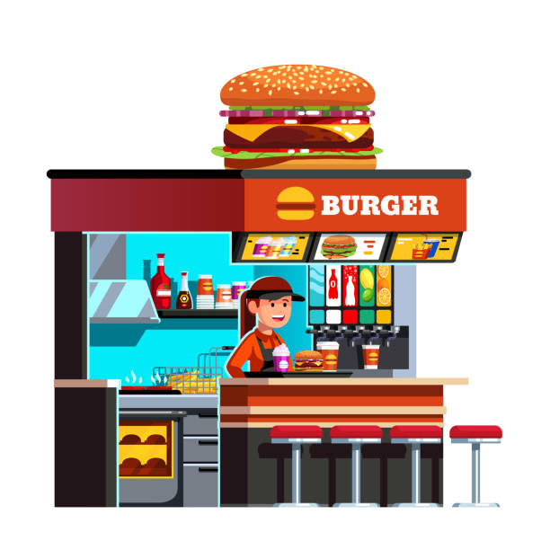 Burger shop fast food restaurant stall decorated with cheeseburger on roof. Chef cook & sales clerk woman serving hamburger meal and milk shake. Flat style vector clipart Modern small burger shop on the go kiosk decorated with big cheese burger. Welcoming restaurant chef cook woman serving meal with hamburger & milk shake. Flat vector illustration isolated on white female sandwich stock illustrations