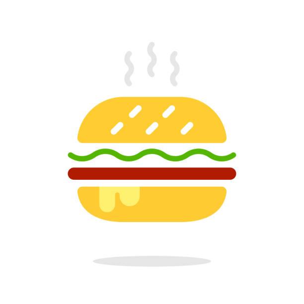 burger zeichen-symbol im flachen stil. hamburger bunte vektor-illustration auf weißem isoliertem hintergrund. cheeseburger geschäftskonzept. vector hamburger classic burger american cheeseburger. eps 10. - salatbar stock-grafiken, -clipart, -cartoons und -symbole