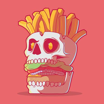 Burger Skull with fries vector illustration.