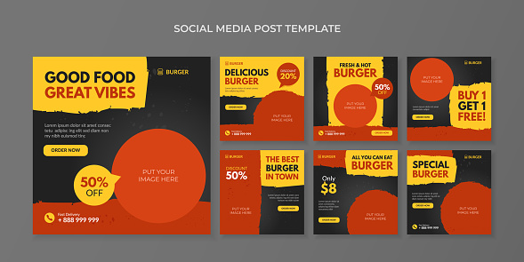 Burger social media post template. Food square banner for fast food restaurant and cafe