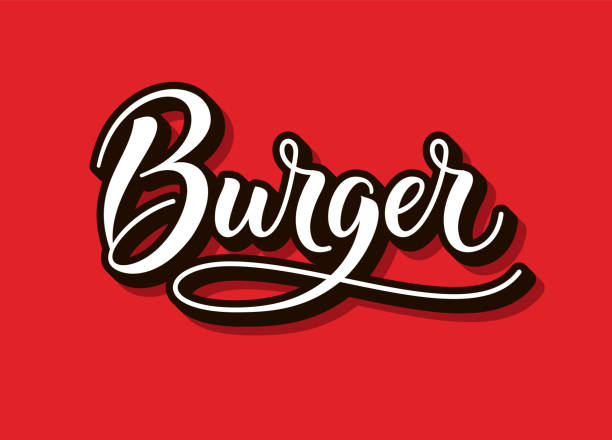 illustrazioni stock, clip art, cartoni animati e icone di tendenza di burger  , text and word. calligraphy and script typography in vintage american script style. burger isolated. simple symbol and modern sign for fast food. vector illustration. eps 10 - hamburger
