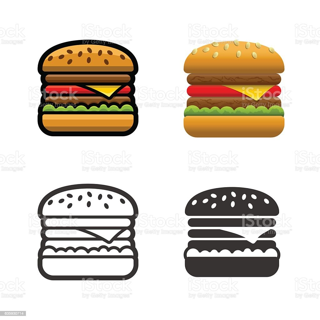 Burger vector colored icon set - ilustración de arte vectorial