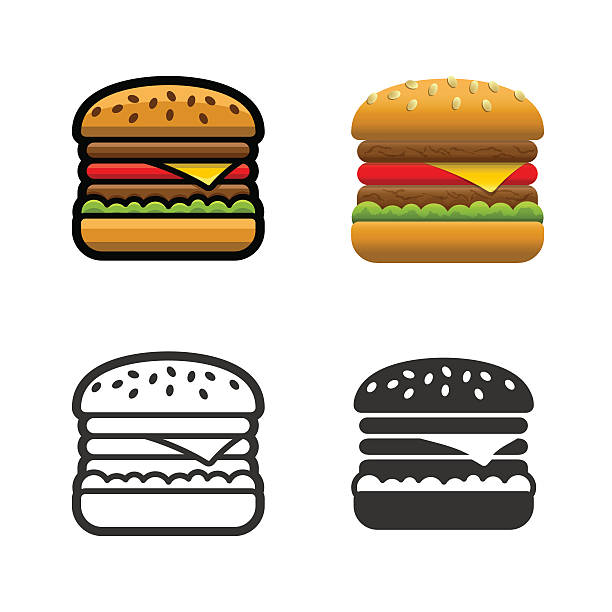 Burger vector colored icon set Burger vector cartoon, colored, contour and silhouette styles icon set. Tasty fast food unhealthy meal. Isolated dishes on white background. cheeseburger stock illustrations