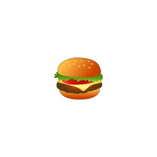 illustrazioni stock, clip art, cartoni animati e icone di tendenza di icona di burger vector. hamburger isolato fast food emoji, illustrazione emoticon - hamburger