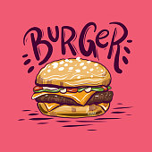 Burger Vector Illustration isolated on background.