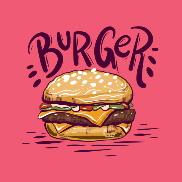 Burger Vector Illustration isolated on background. Burger hand drawn Vector Illustration isolated on background. cheeseburger stock illustrations