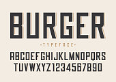 Burger vector retro regular font design, alphabet, typeface, typ