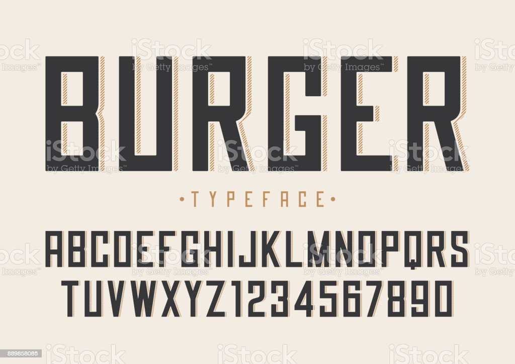 Burger vector retro regular font design, alphabet, typeface, typ vector art illustration