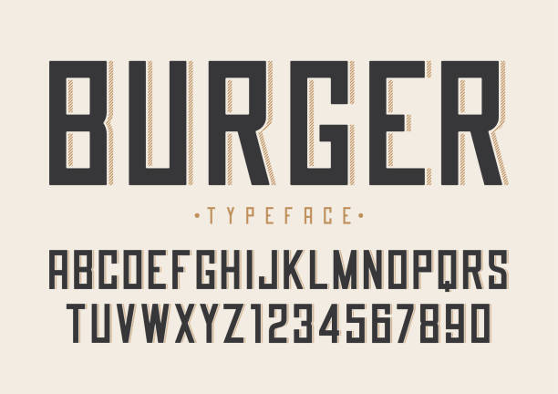 burger vector retro regular font design, alphabet, typeface, typ - fonts and typography stock illustrations, clip art, cartoons, & icons