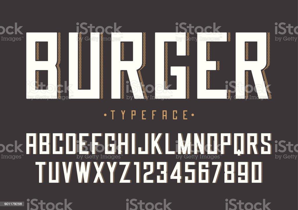 Conception de police rétro vecteur Burger, alphabet, fonte, typ - Illustration vectorielle