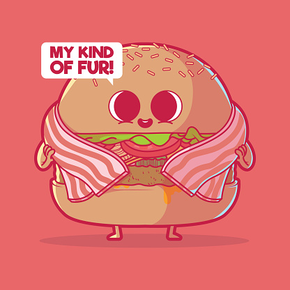 Burger with a bacon coat vector illustration.