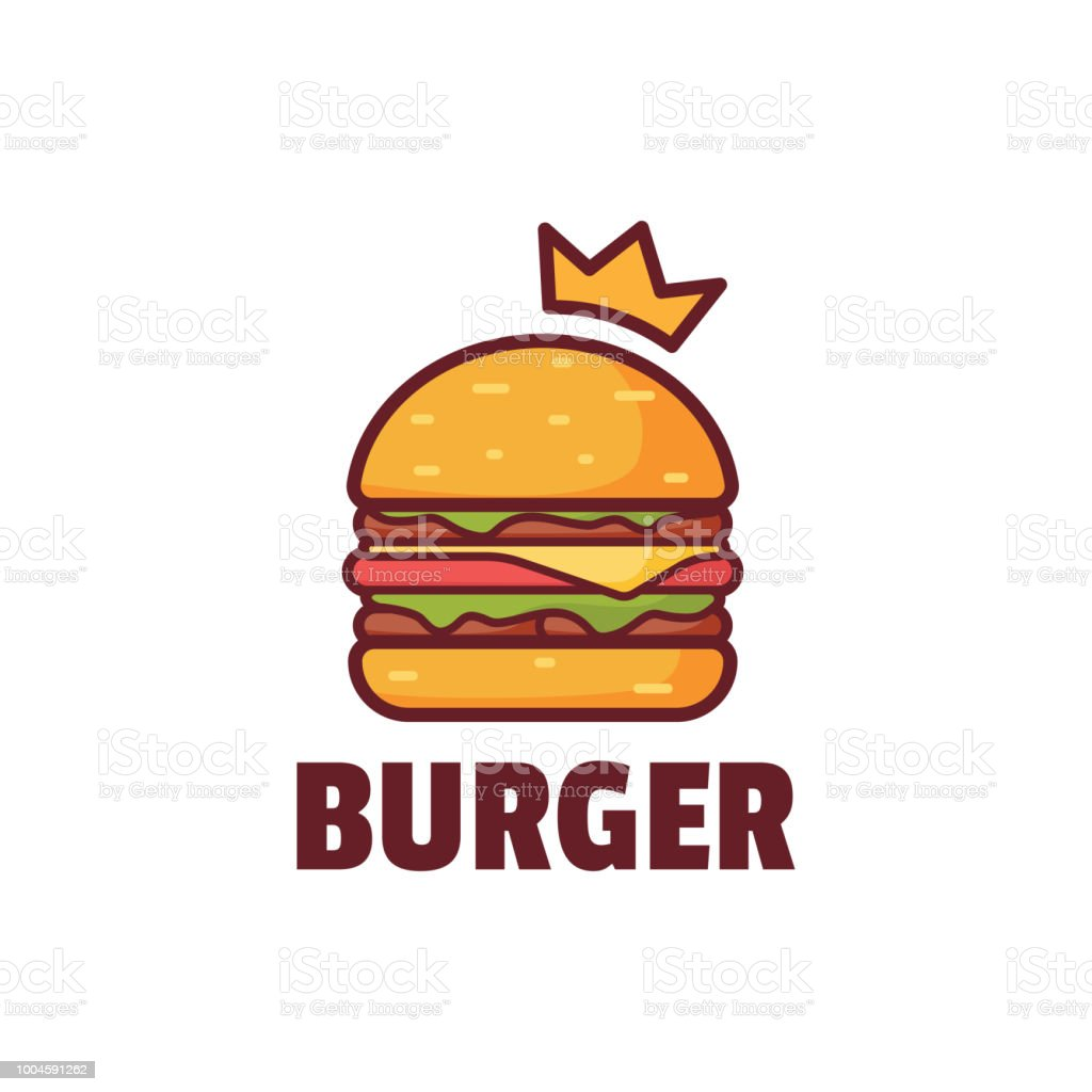 Burger avec illustration Logo Couronne - Illustration vectorielle