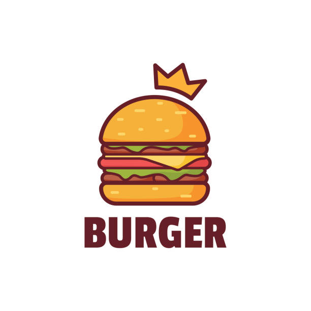 burger with crown logo illustration - cheeseburger stock illustrations