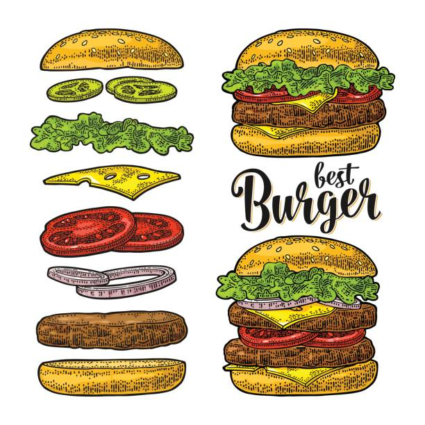 Burger with flying ingredients on white background. Vector black vintage engraving Double and classic burger with flying ingredients include bun, tomato, salad, cheese, onion, cucumber. Best burger lettering. Vector black vintage engraving Illustration isolated on white background cheeseburger stock illustrations