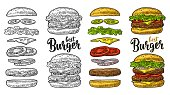 istock Burger with flying ingredients on white background. Vector black vintage engraving 962157716