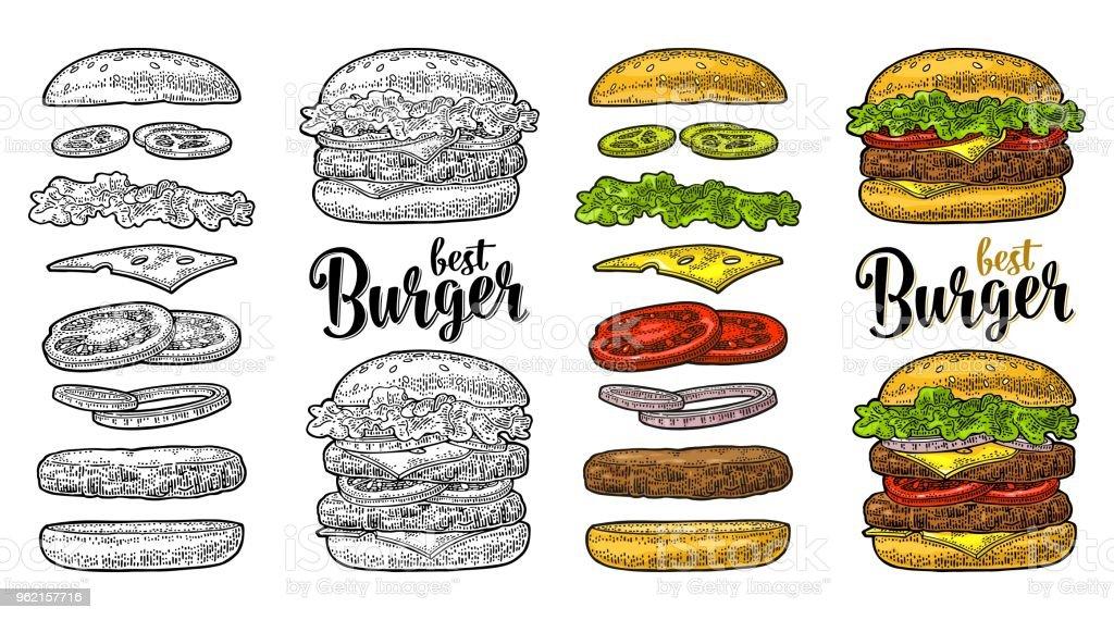 Hambúrguer com ingredientes que voam sobre fundo branco. Gravura de vindima vector preto - ilustração de arte em vetor