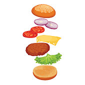 Burger with ingredients isolated on white. Crispy bun with sesame