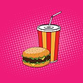 Burger with paper cup of cola illustration in pop art style
