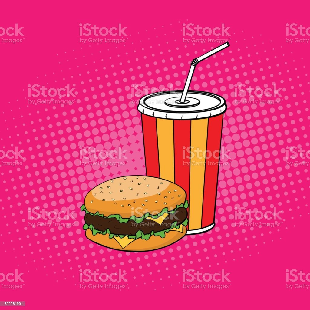Burger with paper cup of cola illustration in pop art style vector art illustration