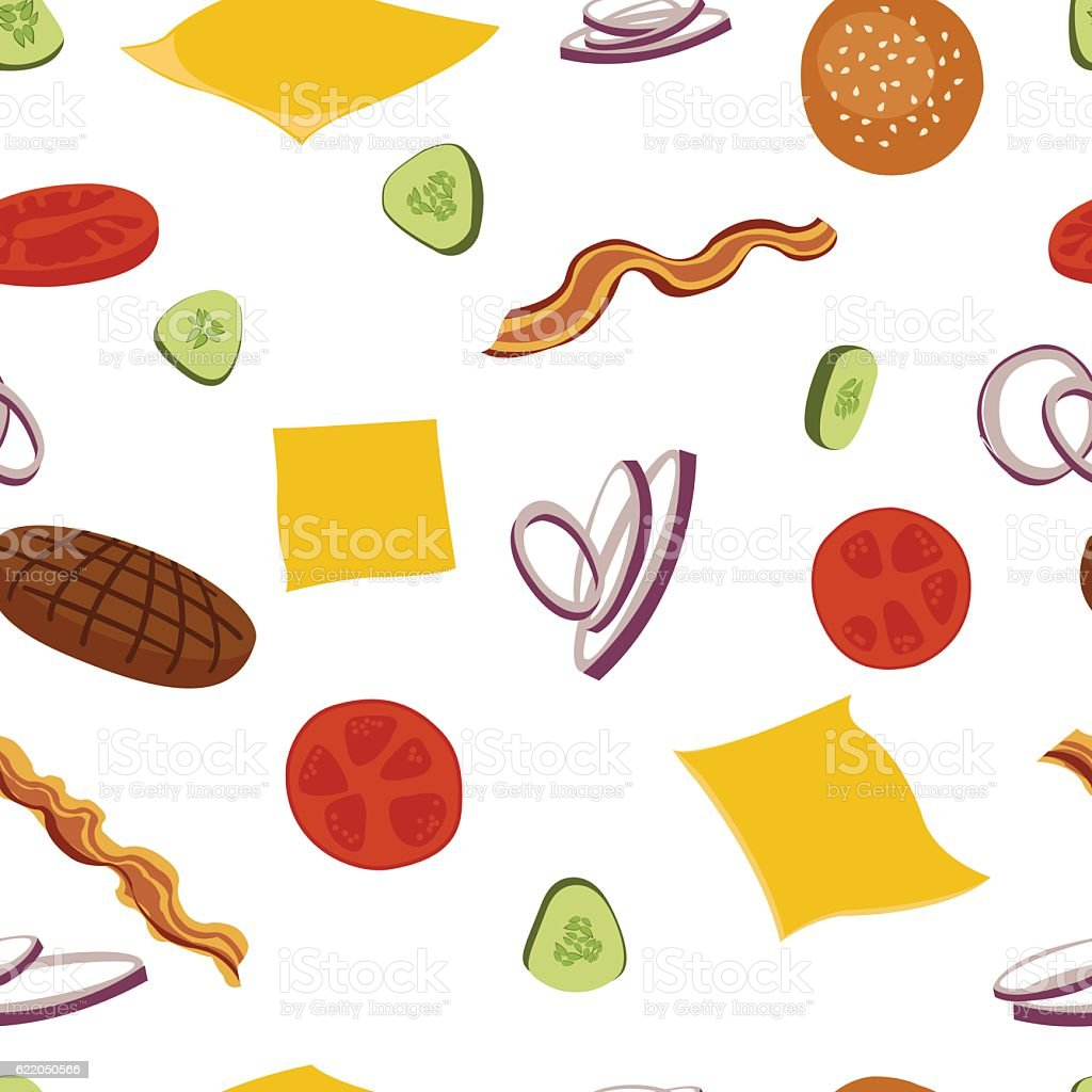 Burgers and ingredients for cheeseburger seamless background. vector art illustration