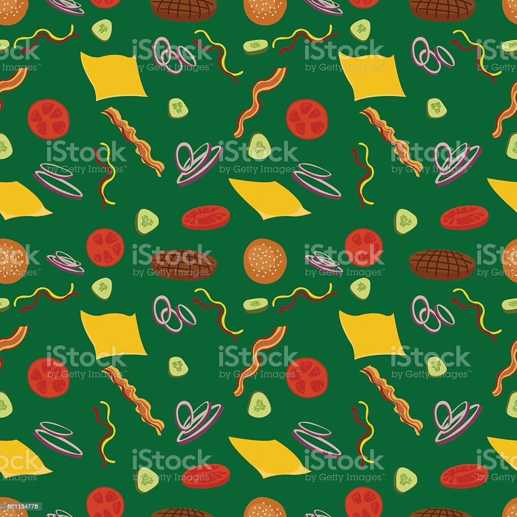 Burgers and ingredients for cheeseburger seamless on green background. vector art illustration