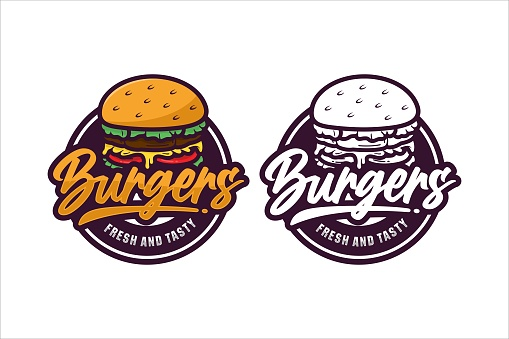 Burgers fresh and tasty design premium logo