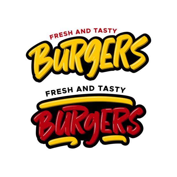 illustrazioni stock, clip art, cartoni animati e icone di tendenza di hamburger disegnati a mano scritte moderne a pennello. testo del logo dell'illustrazione vettoriale per le aziende, la stampa e la pubblicità - hamburger