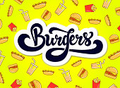Vintage sketch hand lettering with logo burger calligraphy. Burgers shop - logo design. Hand drawn logotype. Isolated vector illustration.