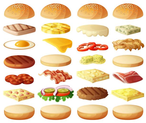illustrazioni stock, clip art, cartoni animati e icone di tendenza di burgers set. ingredients buns, cheese, bacon, tomato, onion, lettuce, cucumber - aglio cipolla isolated