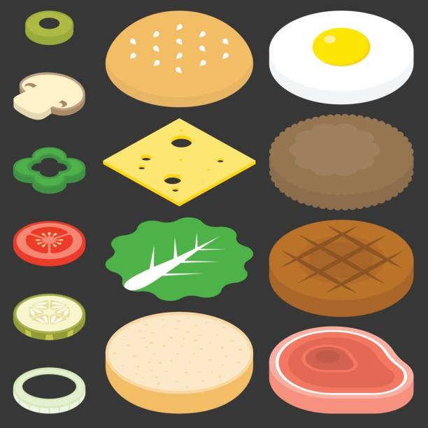 burgers set - burger and chicken stock illustrations