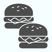 Burgers solid icon. Two tasty sandwiches vector illustration isolated on white. Fast food glyph style design, designed for web and app. Eps 10
