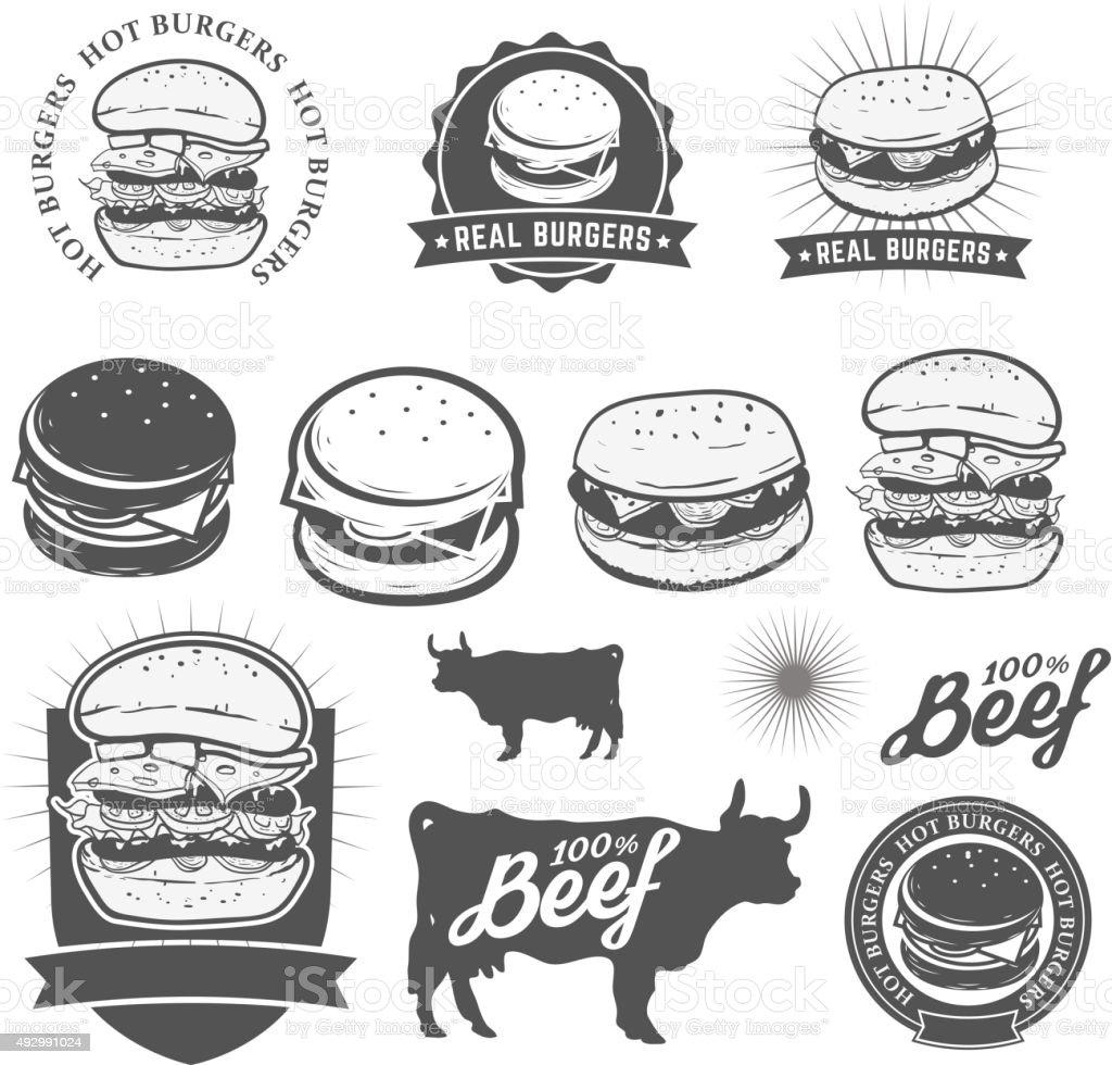 burgers vector art illustration