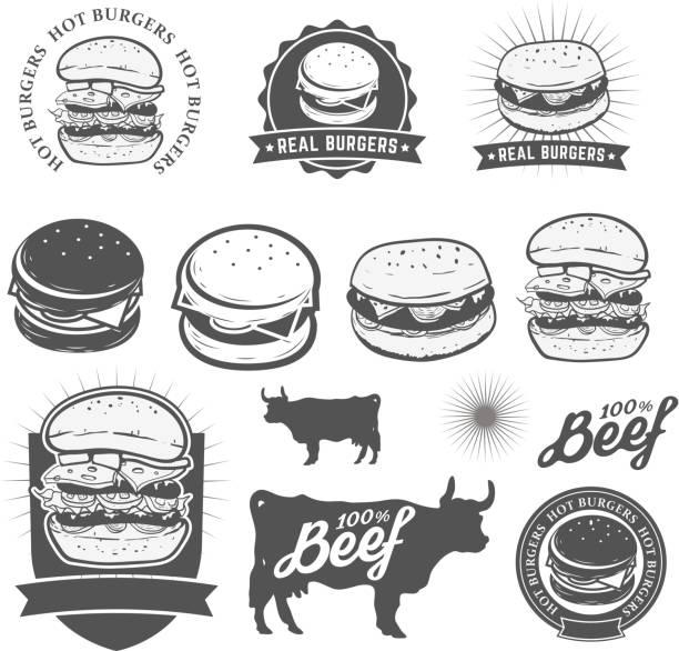 バーガー - ハンバーグ料理点のイラスト素材/クリップアート素材/マンガ素材/アイコン素材