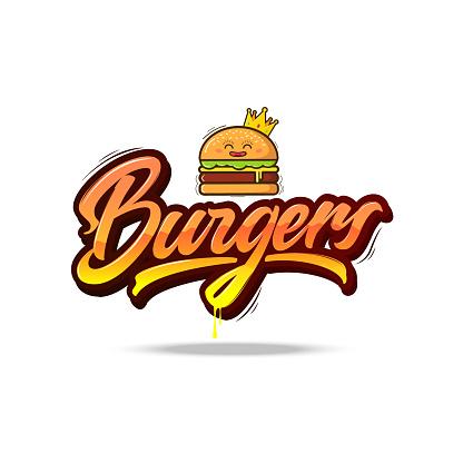 Burgers vector lettering illustration.