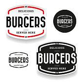 Burgers vintage label set vector