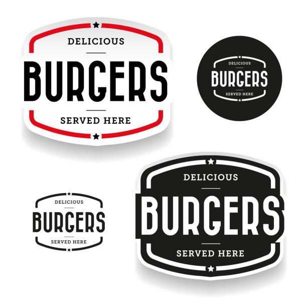 vintage beschriftungssatz burger - restaurant stock-grafiken, -clipart, -cartoons und -symbole