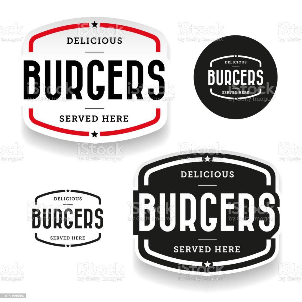 Burgers vintage label set vector art illustration