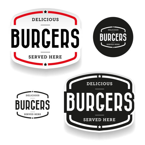 stockillustraties, clipart, cartoons en iconen met hamburgers vintage label set - hamburgers